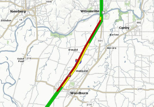 A crash closed all southbound lanes of I-5 north of Woodburn Wednesday morning.