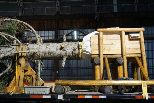 The trunk of the U.S. Capitol Christmas Tree from Oregon, seen here on Sunday, Nov. 4, 2018, at a mill in Sweet Home, will be sunk 4 feet in the ground on the West Lawn with concrete poured around it for stability.