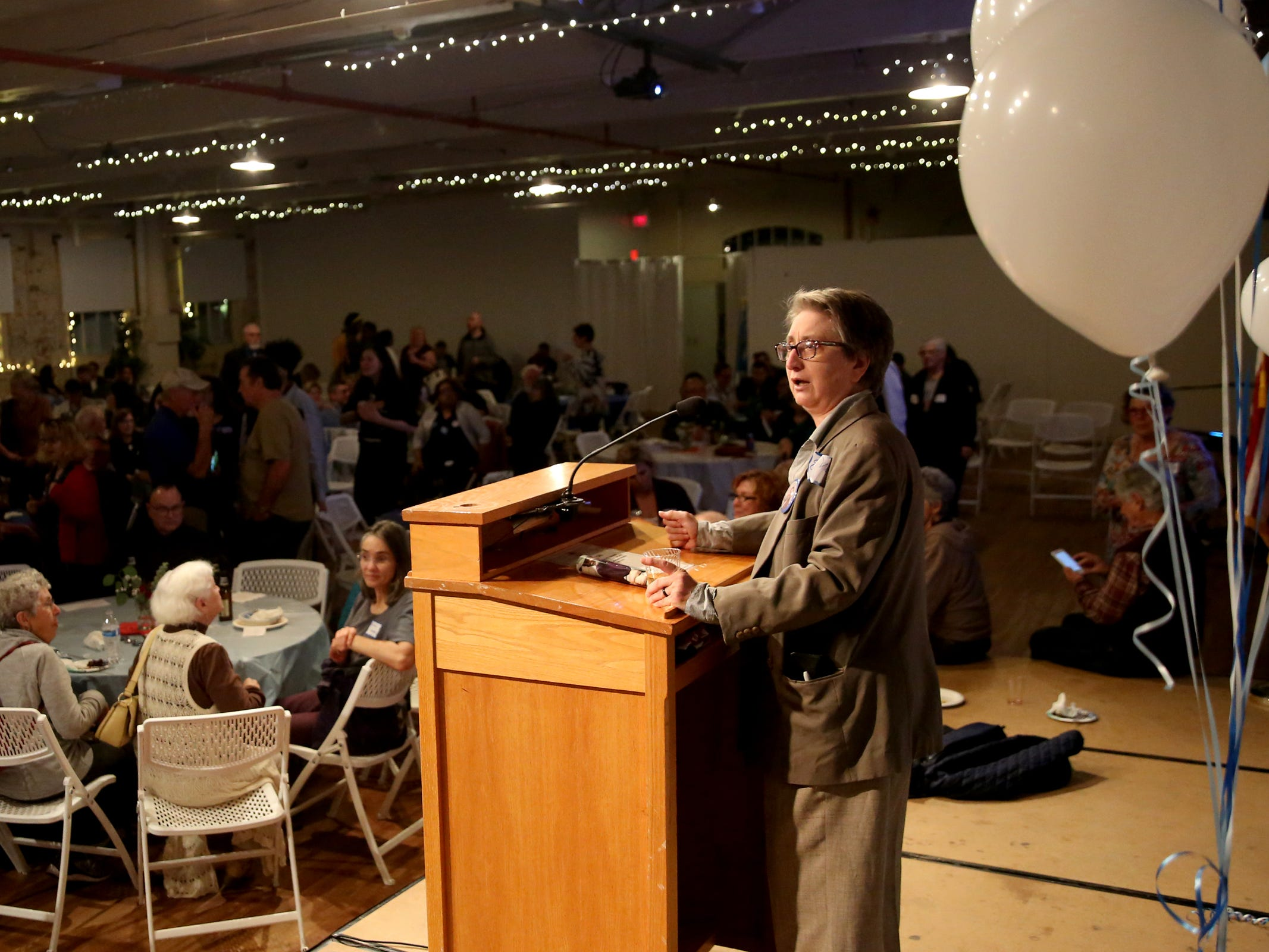 Susan Smith, the campaign manager for Shelaswau Crier, speaks during an election night party hosted by Marion County Democrats and Polk County Democrats at the Willamette Heritage Center in Salem on Tuesday, Nov. 6, 2018.