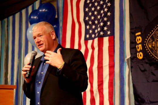 Paul Evans, the incumbent for House District 20, speaks during an election night party hosted by Marion County Democrats and Polk County Democrats at the Willamette Heritage Center in Salem on Tuesday, Nov. 6, 2018.