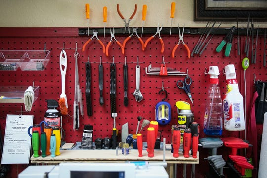 An array of tools lay out for George and Betty Cooper for repair work Nov. 1, 2018, at Creative Stitches.