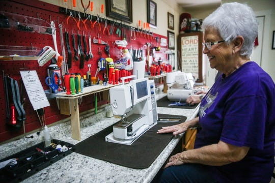 Betty Cooper at her work station Nov. 1, 2018, at Creative Stitches.