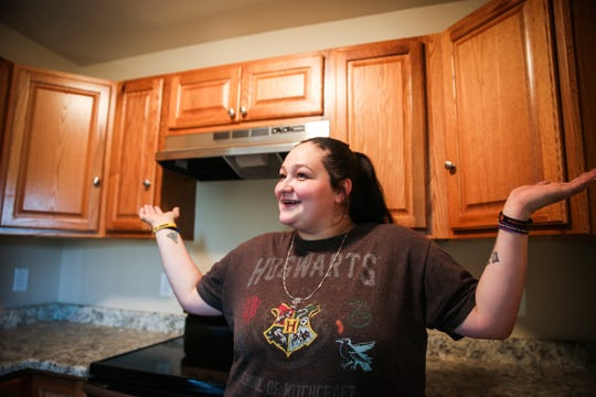 """This is all mine,"" said Heather Sanchez in a kitchen of a Galilee CDC transitional home Tuesday, Nov. 6, 2018, in San Angelo."