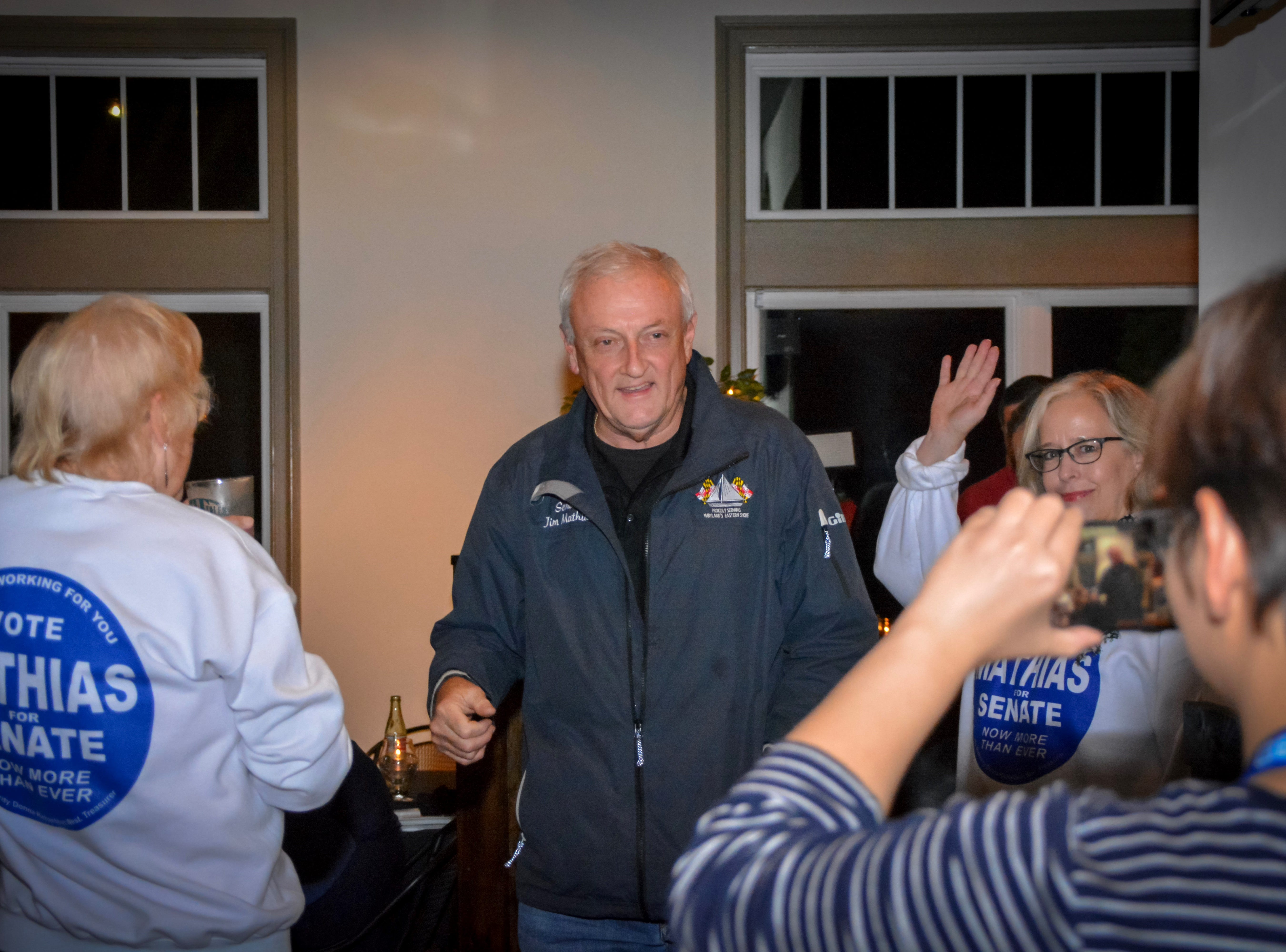 Sen. Jim Mathias arrives at Tall Tales Brewing Company in Parsonsburg to join a crowd of supporters for election night on Tuesday, Nov. 6, 2018.