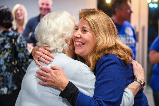 Republican Mary Beth Carozza greets her mother, Mary Pat Carozza at her Ocean City watch party on Tuesday, Nov 6, 2018. Excitement grew throughout the night as Carozza was elected the new Maryland state senator in District 38, unseating incumbent Democrat Jim Mathias.