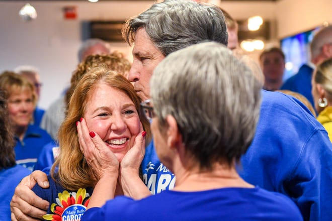 Supporters rally around Republican Mary Beth Carozza shortly after learning she was elected the new Maryland state senator in District 38, unseating incumbent Democrat Jim Mathias on Tuesday, Nov 6, 2018.