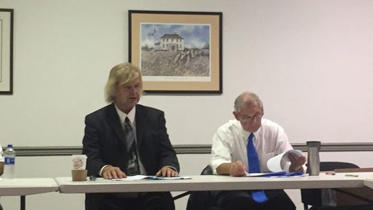 John Paffrath of NYP&N RR, Ltd. speaks during a meeting of the Accomack-Northampton Transportation District Commission and Canonie Atlantic Co. on Tuesday, Nov. 6, 2018 in Melfa, Virginia.