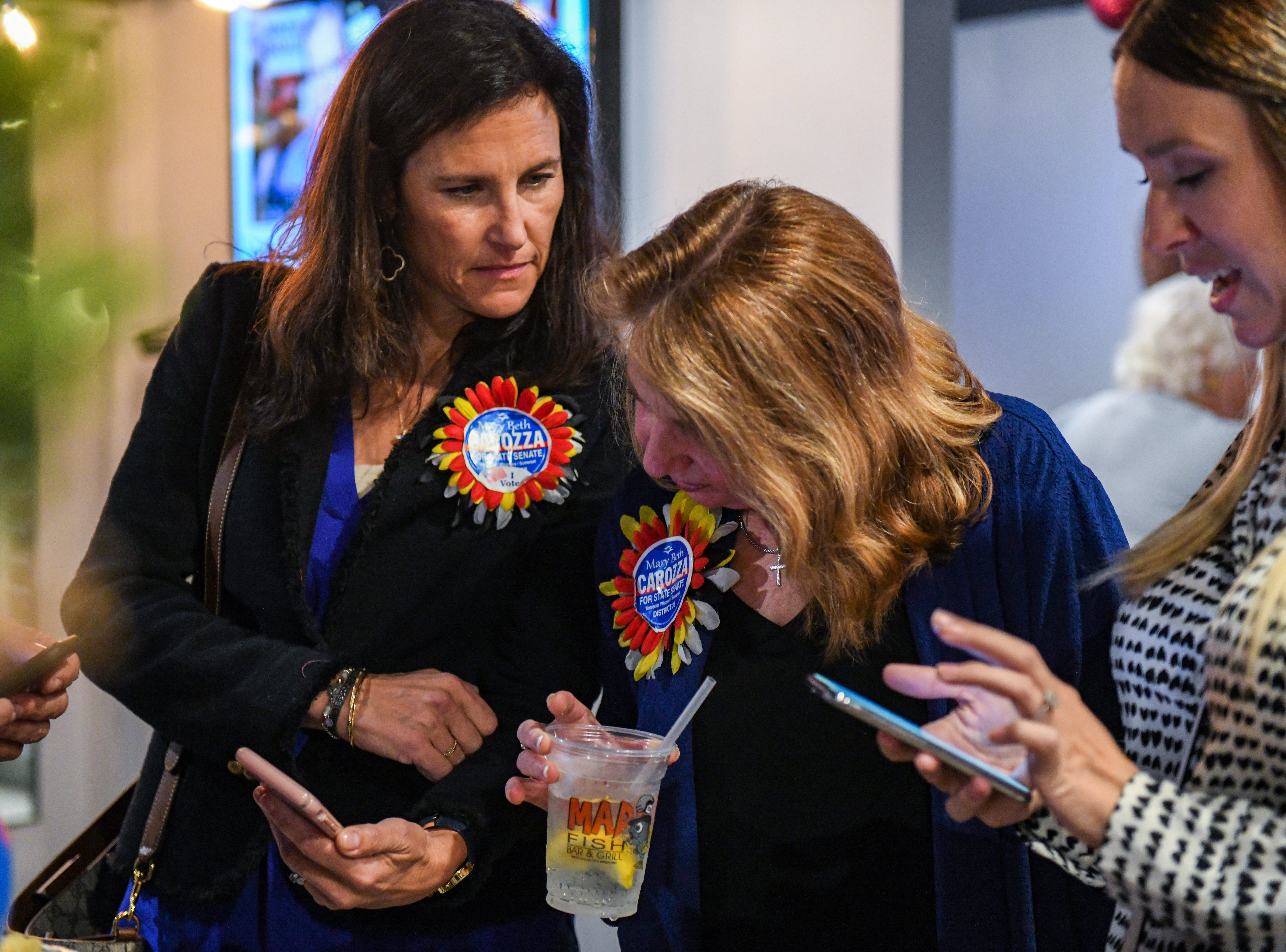 Republican Mary Beth Carozza checks results at her Ocean City watch party on Tuesday, Nov 6, 2018. Excitement grew throughout the night as Carozza was elected the new Maryland state senator in District 38, unseating incumbent Democrat Jim Mathias.