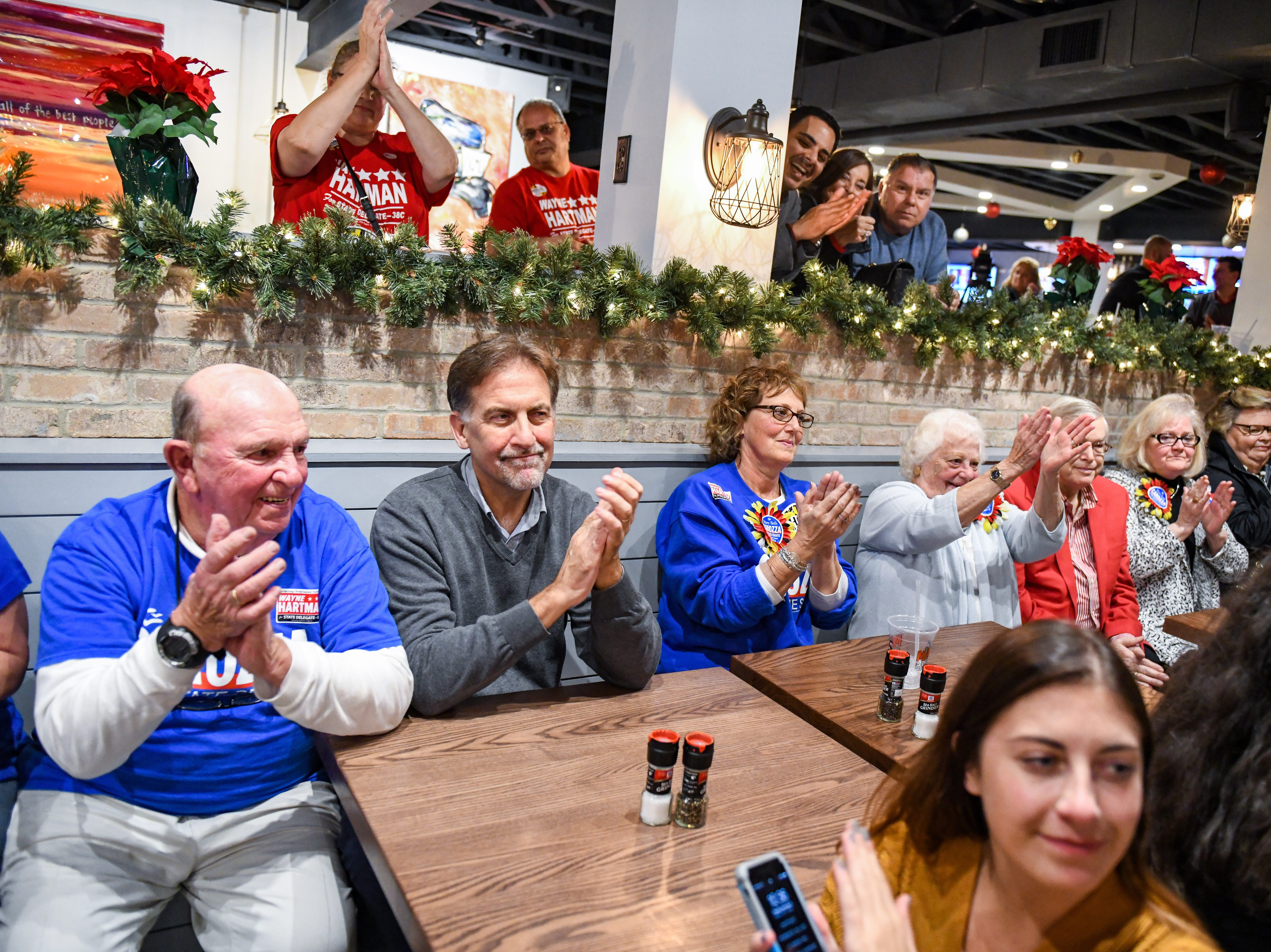 Supporters cheers as Republican Mary Beth Carozza speaks at her Ocean City watch party shortly after she was elected the new Maryland state senator in District 38 on Tuesday, Nov 6, 2018.