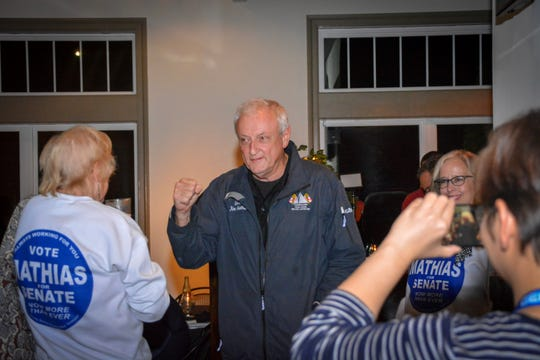 Sen. Jim Mathias meets with supporters at Tall Tales Brewing Company in Parsonsburg for election night on Tuesday, Nov. 6, 2018.