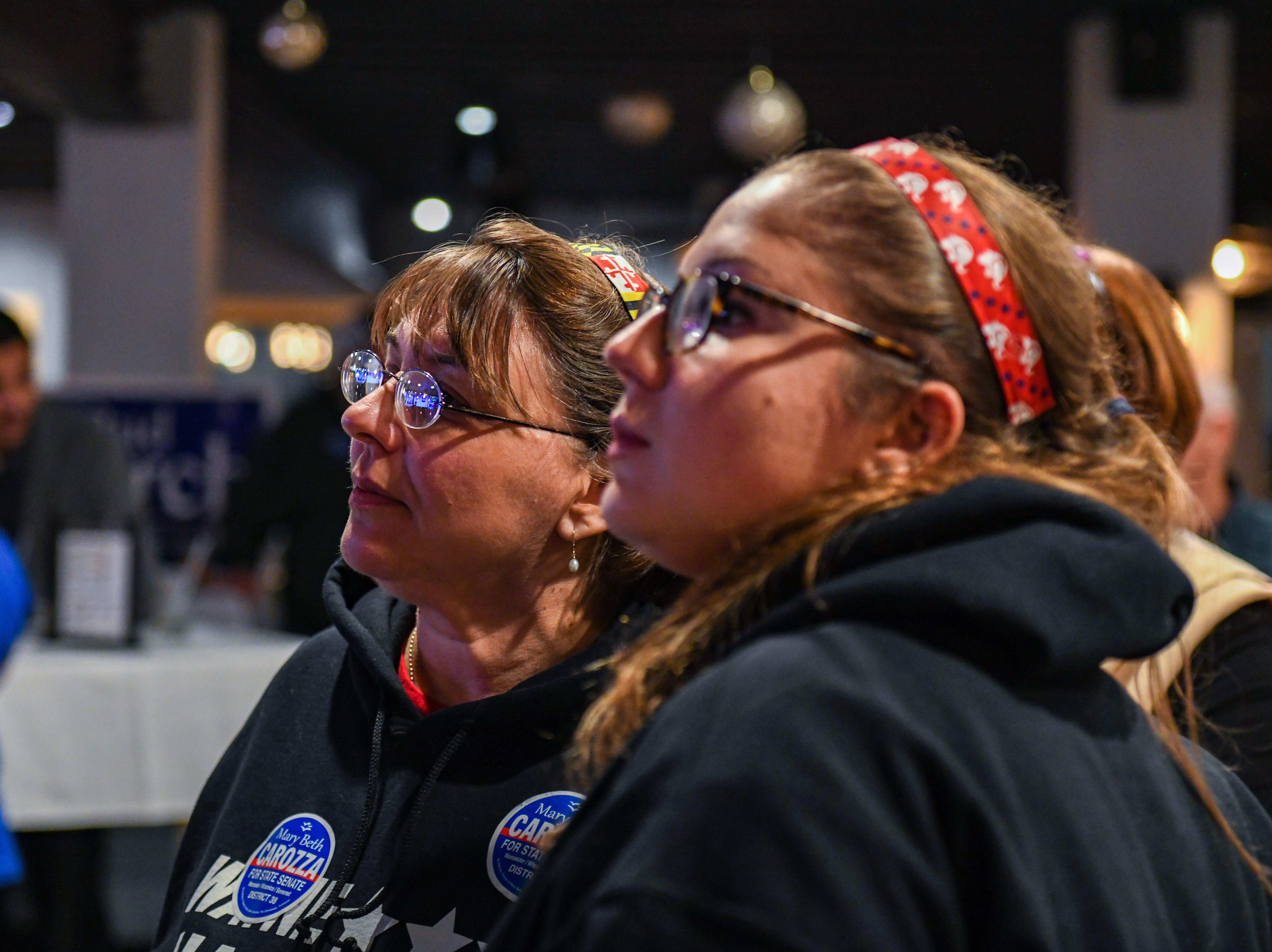 Alyson and Sharon Hartman watch results at the Mary Beth Carozza watch party in Ocean City on Tuesday, Nov 6, 2018.