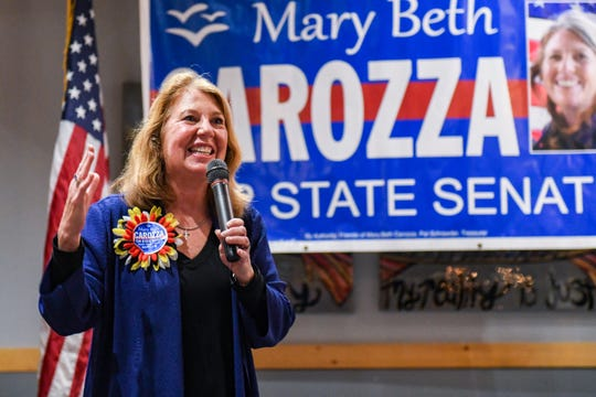 Republican Mary Beth Carozza speaks at her Ocean City watch party shortly after she was elected the new Maryland state senator in District 38 on Tuesday, Nov 6, 2018.