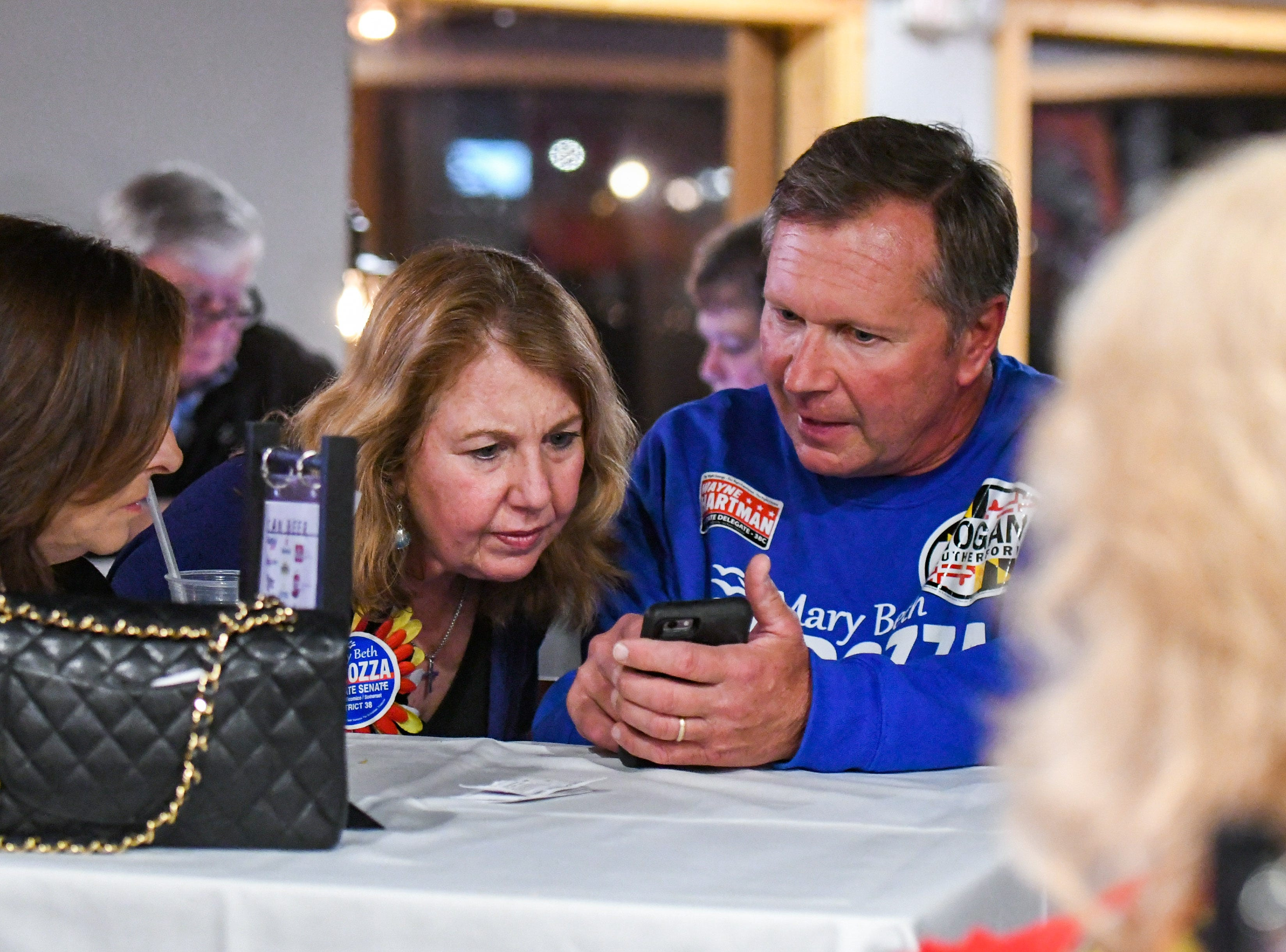 Mary Beth Carozza checks results at her Ocean City watch party on Tuesday, Nov 6, 2018. Excitement grew throughout the night as Carozza was elected the new Maryland state senator in District 38, unseating incumbent Democrat Jim Mathias.