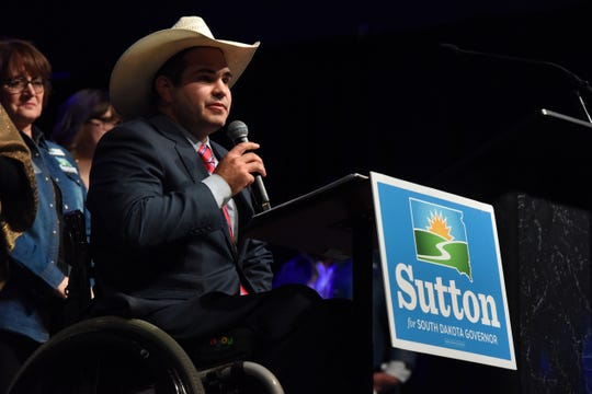 Billie Sutton gives his concession speech after losing the governor's race to Kristi Noem, Tuesday, Nov. 6, 2018 at The District in Sioux Falls, S.D.