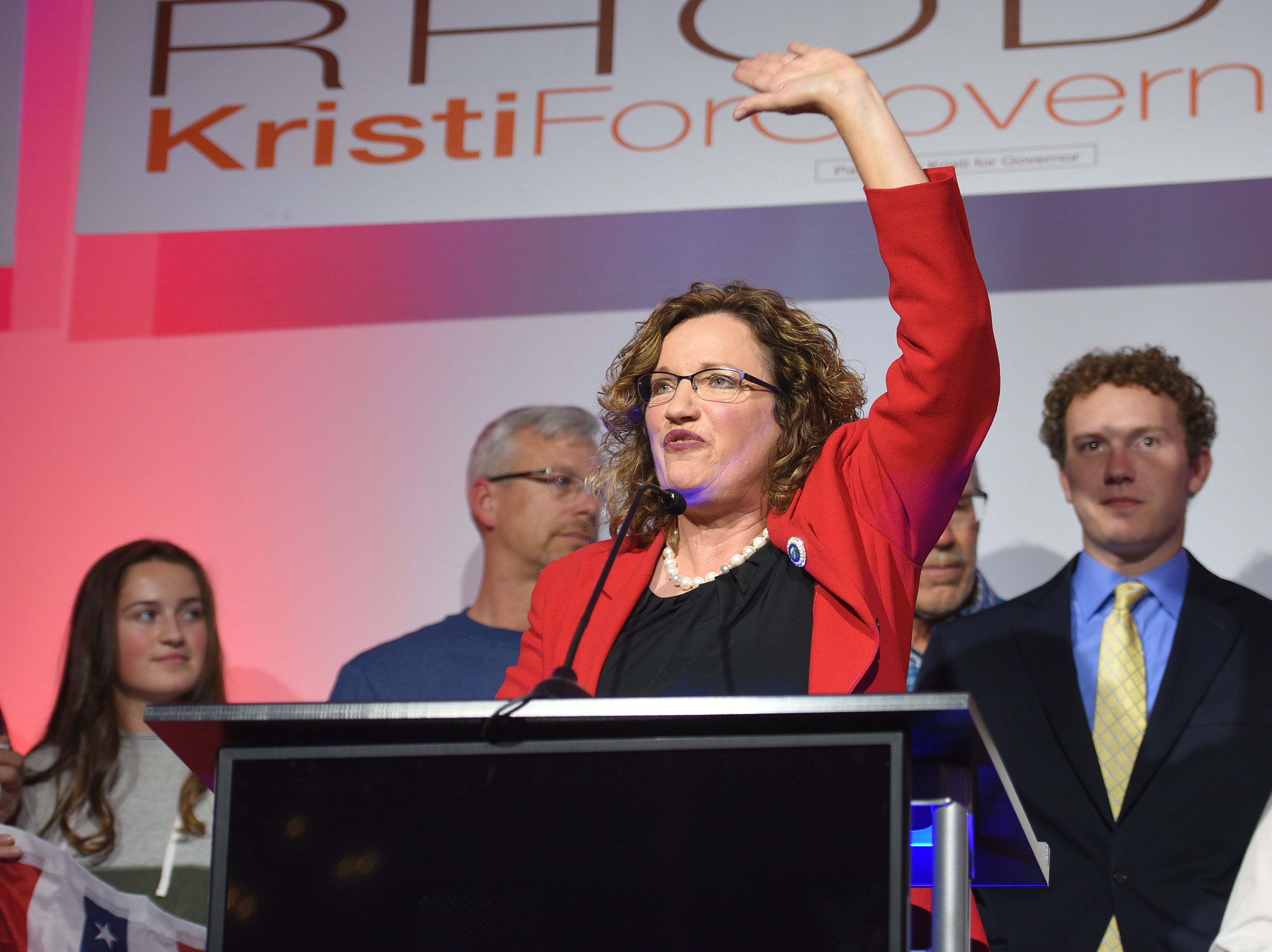 Kristie Fiegen makes a speech to supporters after results are announced Tuesday, Nov. 6, at the Hilton Garden Inn in Sioux Falls.