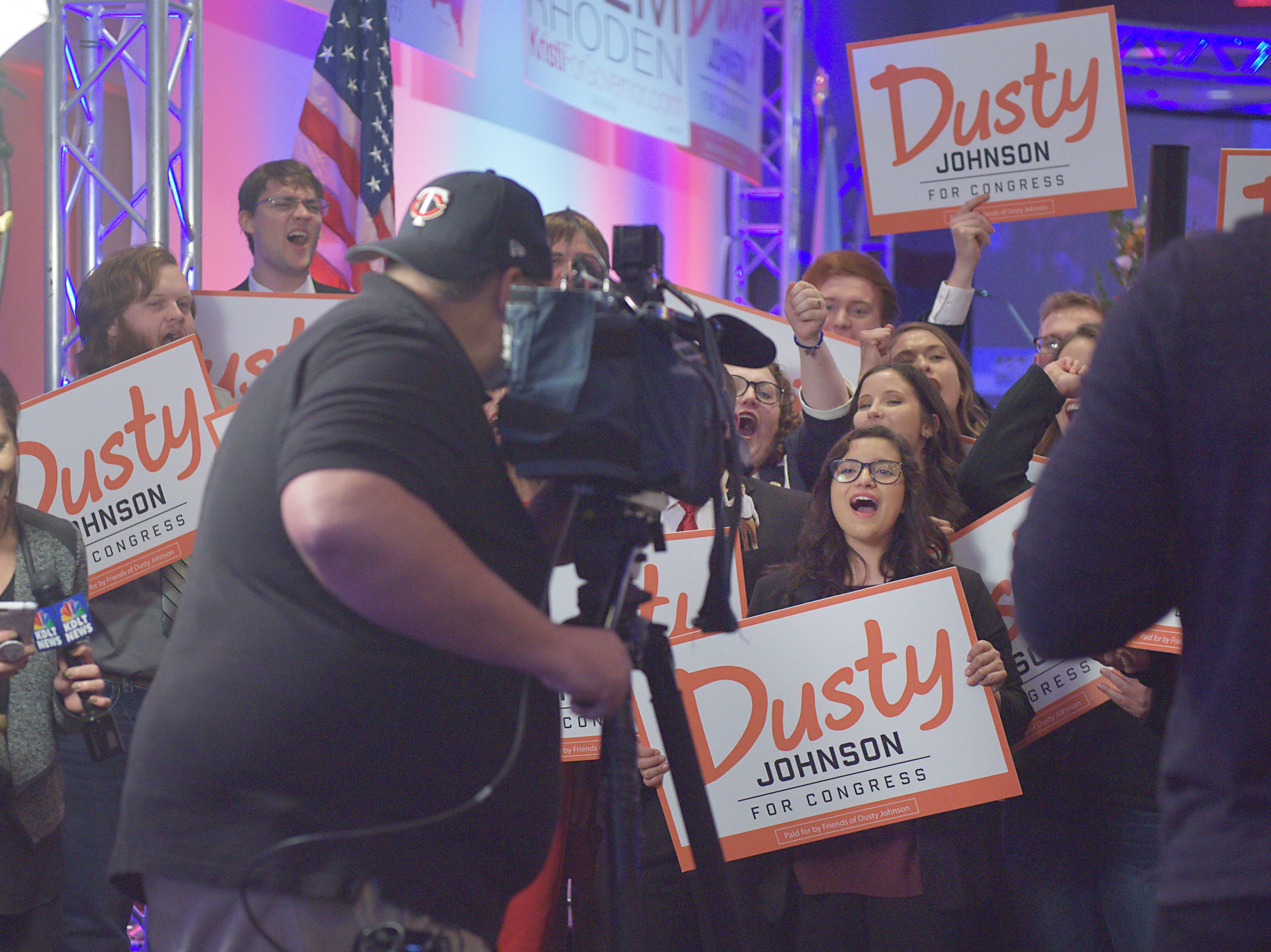 Supporters gather to cheer on Dusty Johnson before he speaks after winning South Dakota's lone U.S. House seat after results are announced Tuesday, Nov. 6, at the Hilton Garden Inn in Sioux Falls.