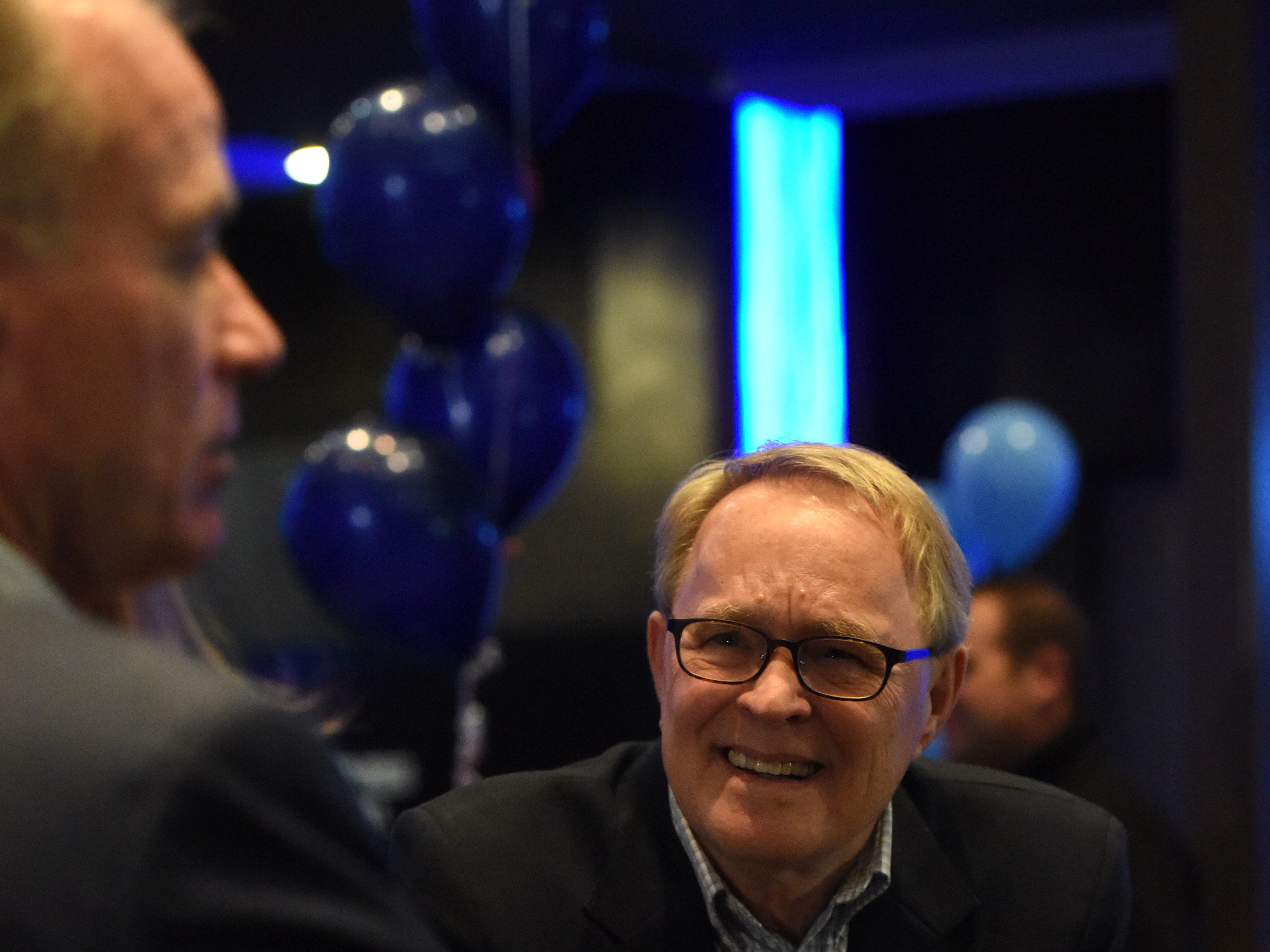 Dennis Olson attends the Democratic night party, Tuesday, Nov. 6, 2018 at The District in Sioux Falls, S.D.