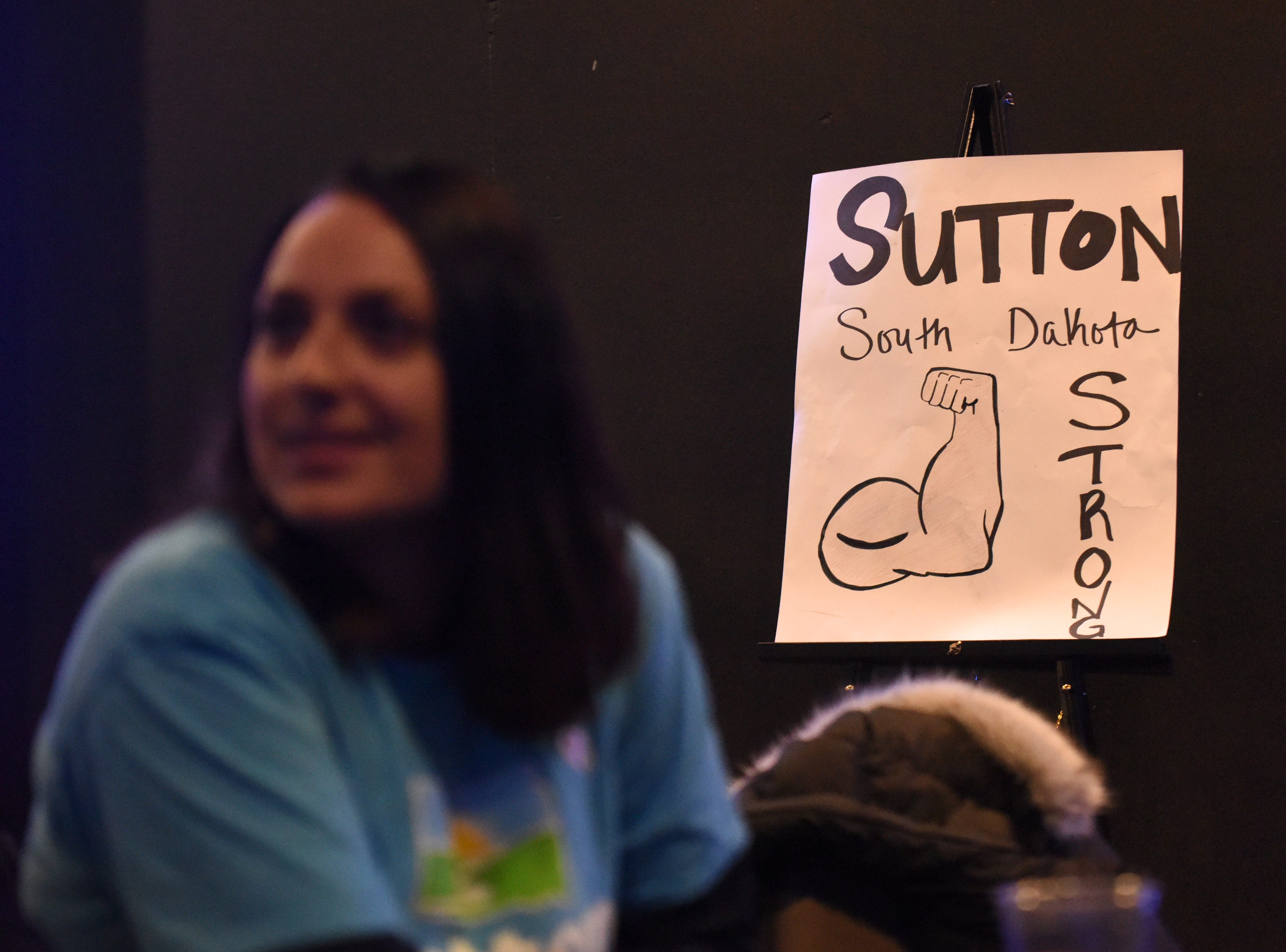 Billie Sutton sign shown at the Democratic night party, Tuesday, Nov. 6, 2018 at The District in Sioux Falls, S.D.