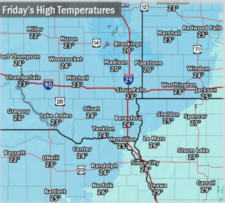 Temperatures on Friday are expected to be in the low to mid-20s, the National Weather Service says.