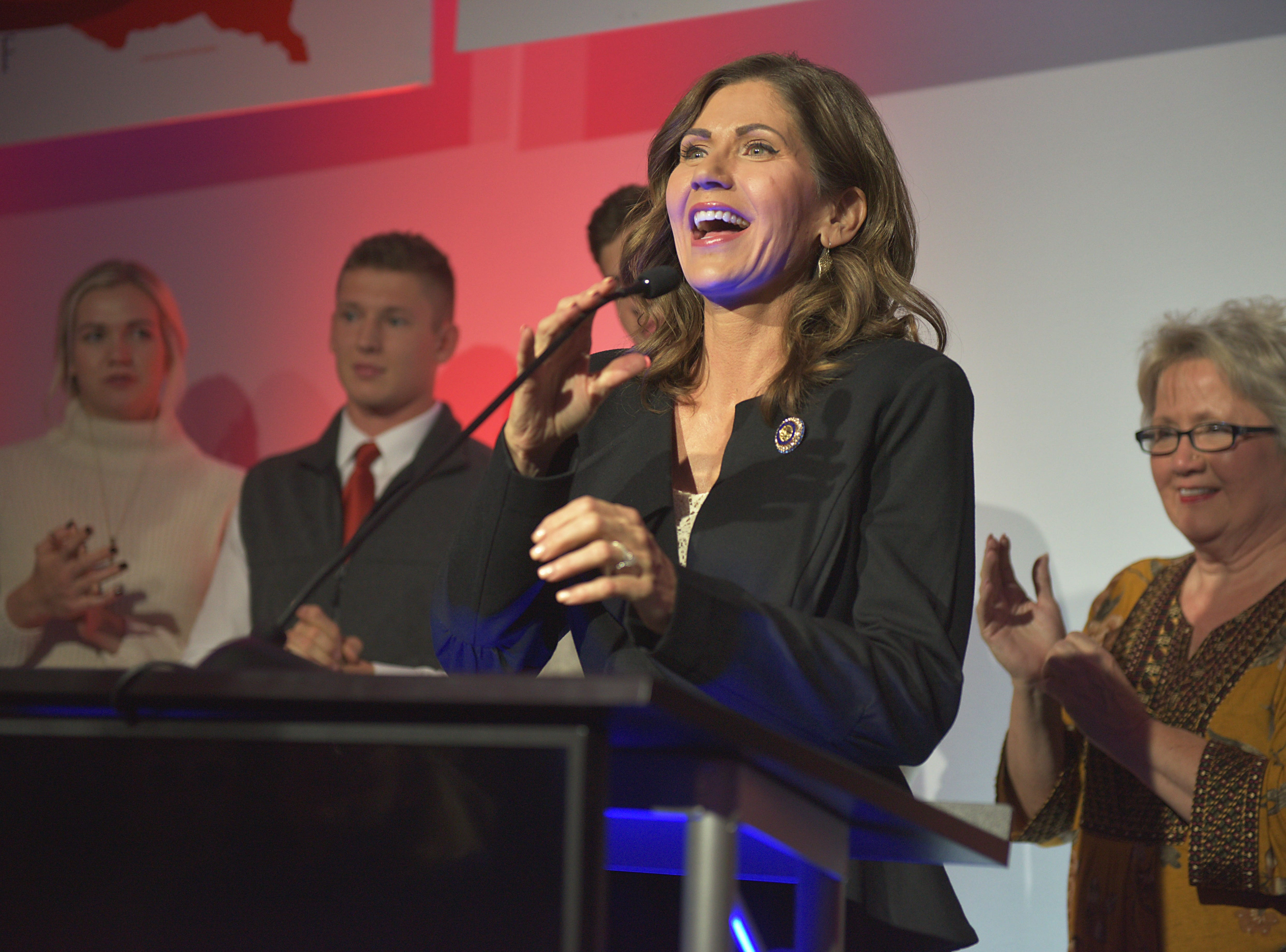 Kristi Noem address supporters while she makes her acceptance speech after being announced the new governor of South Dakota Tuesday, Nov. 6, at the Hilton Garden Inn in Sioux Falls. Noem made history by being the first female governor of South Dakota.