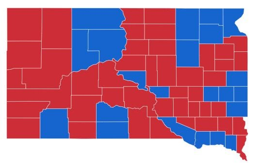 Map of counties won by Billie Sutton (blue) and Kristi Noem (red).