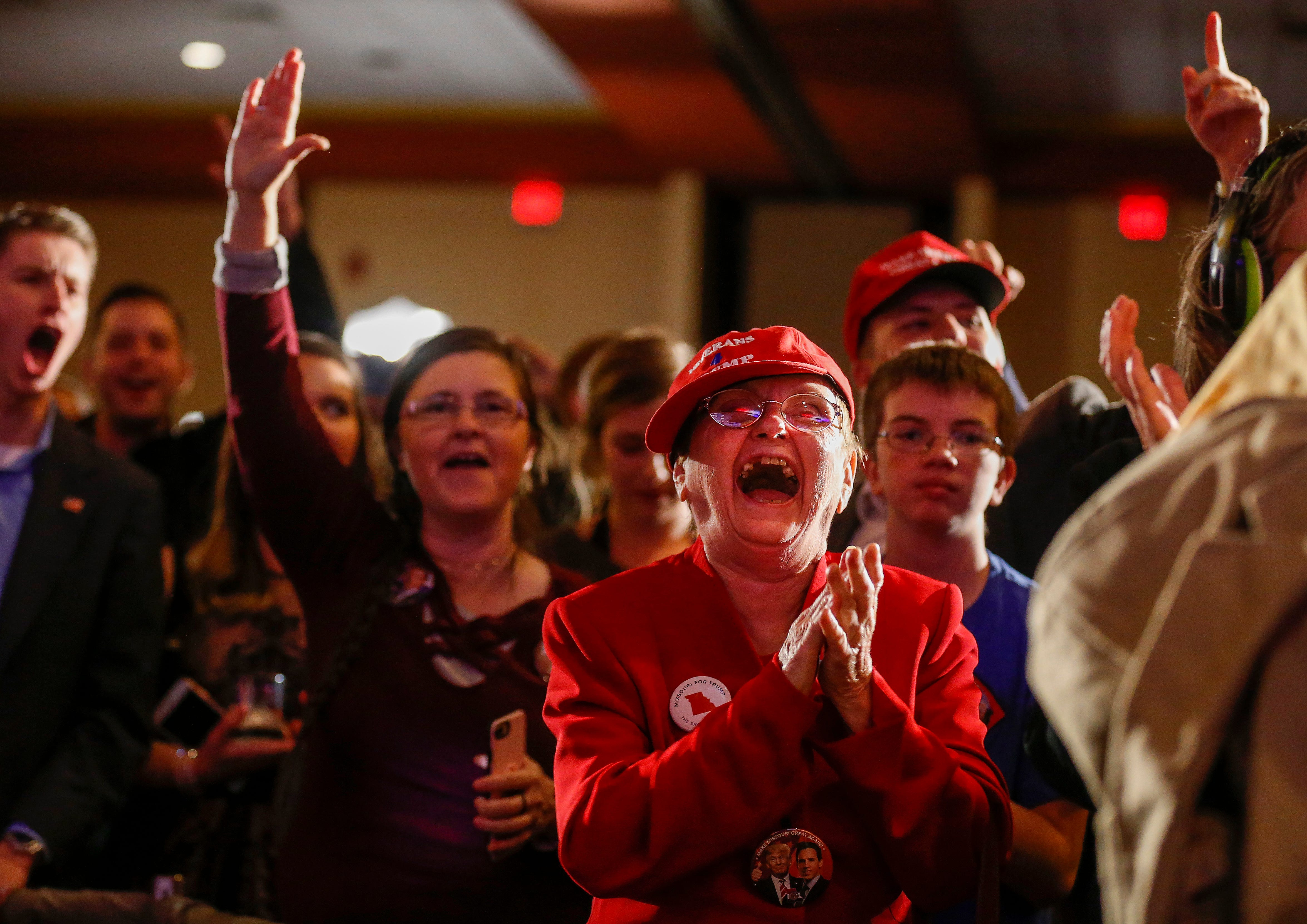 Shirley Gilman cheers as it is announced that Josh Hawley had won the race for Senate during the Greene County Republican's watch party at the University Plaza hotel on Tuesday, Nov. 6, 2018.