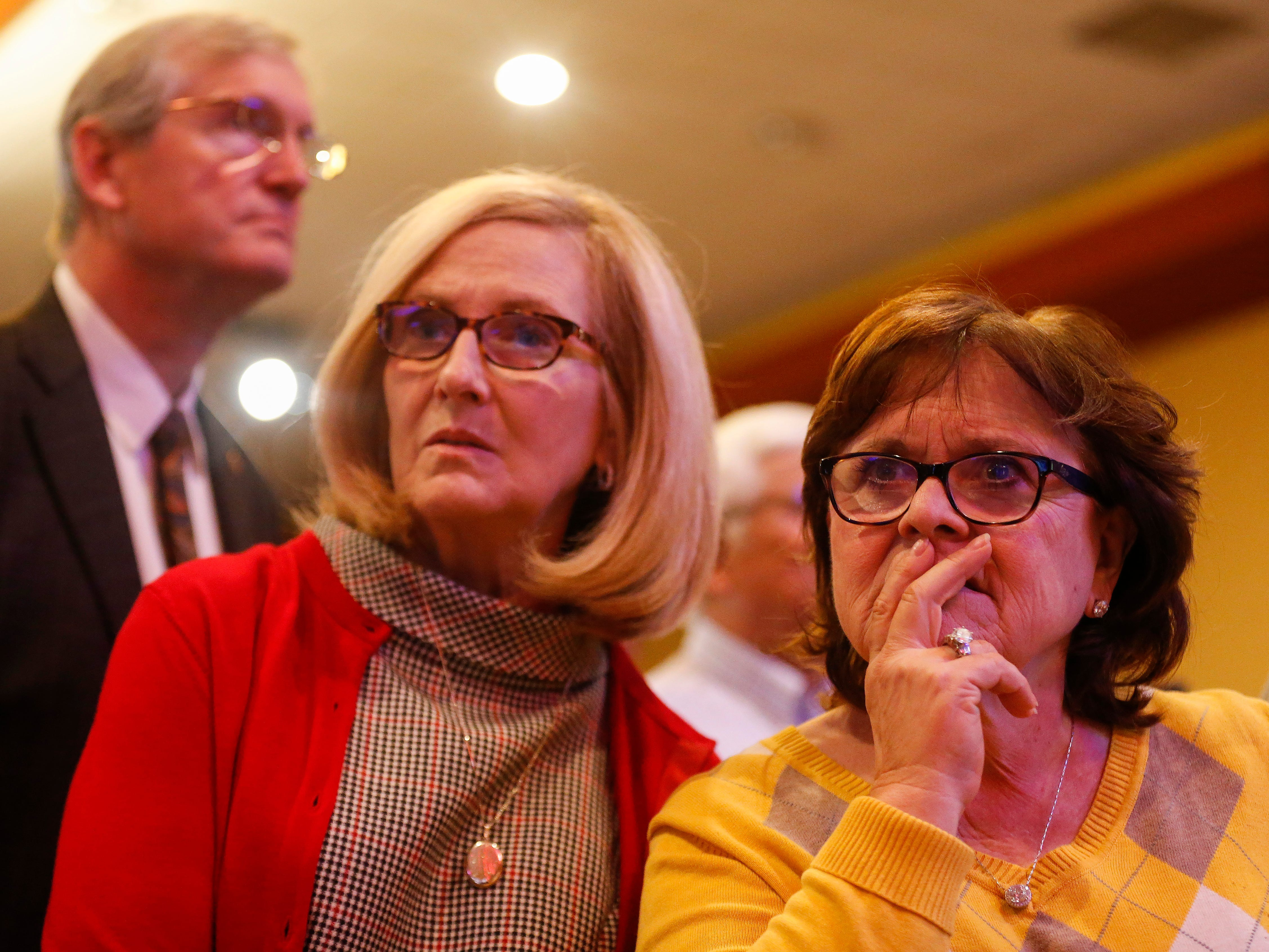 Liz Whitener, right, watches intently as results come in during the Greene County Republican's watch party at the University Plaza hotel on Tuesday, Nov. 6, 2018.