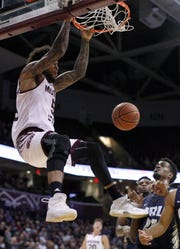 Missouri State's Obediah Church finished the fast break against Oral Roberts University at JQH Arena in Springfield on November 6, 2018.