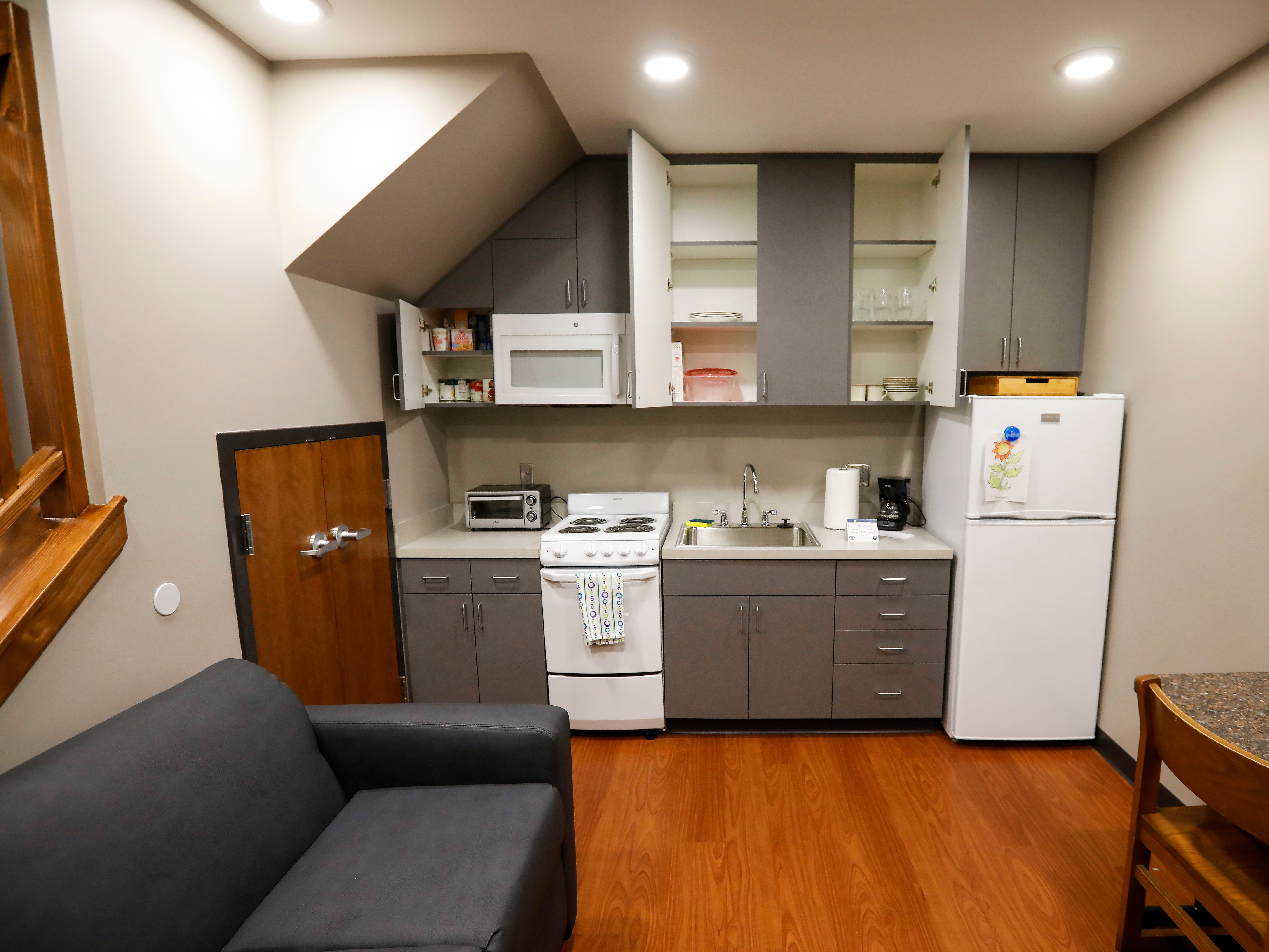 The kitchen inside one of the apartments at The Kitchen's new Emergency Shelter located at 1855 E. Chestnut Expressway.