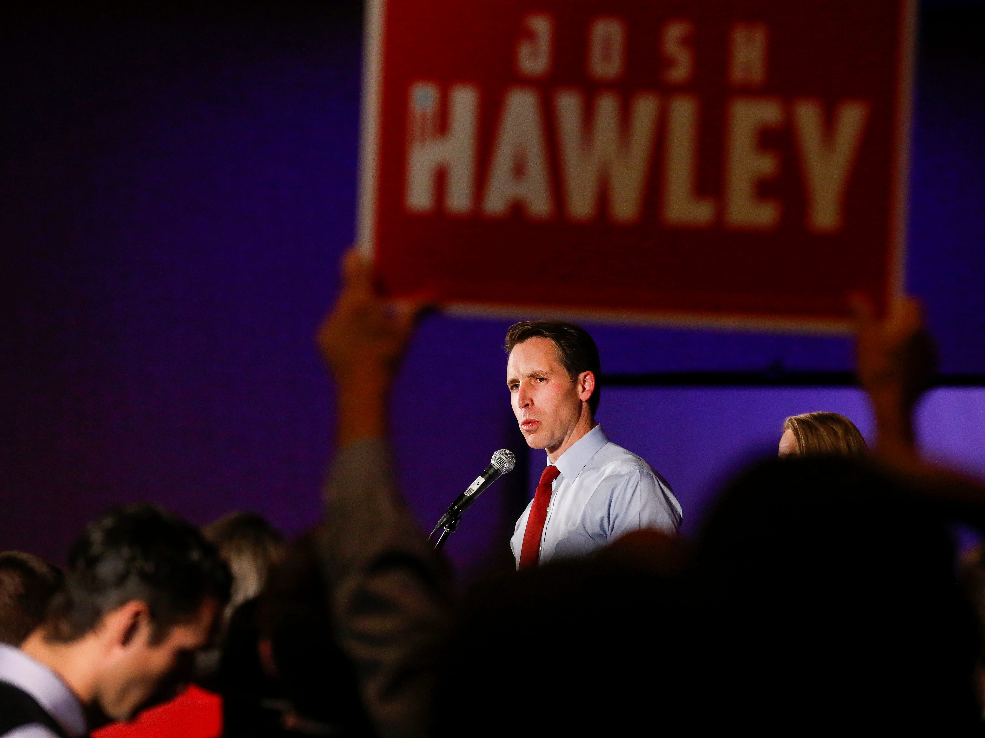 Senator elect Josh Hawley speaks to the crowd at the Greene County Republican's watch party at the University Plaza hotel on Tuesday, Nov. 6, 2018.