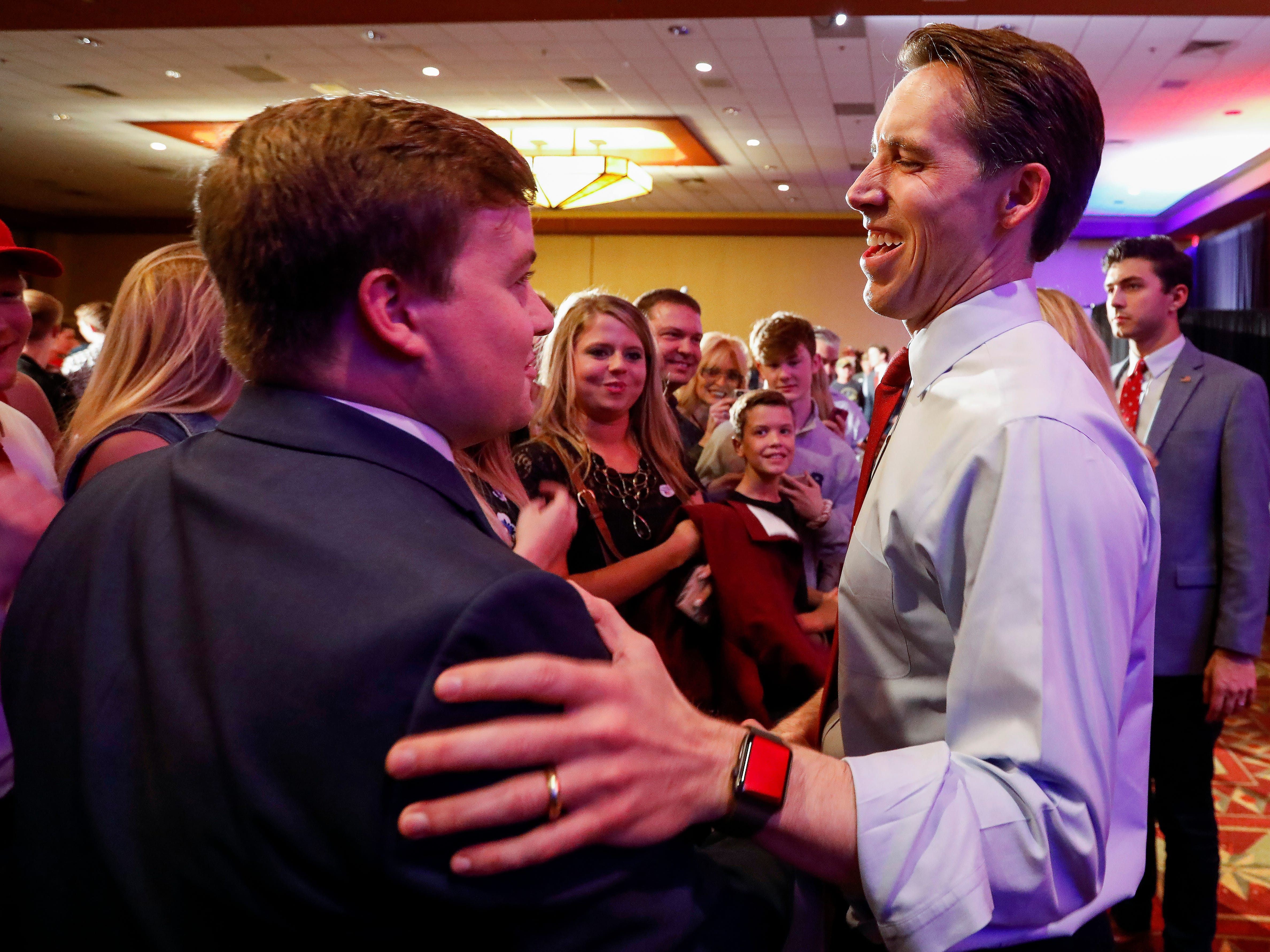 Senator elect Josh Hawley meets supporters at the Greene County Republican's watch party at the University Plaza hotel on Tuesday, Nov. 6, 2018.