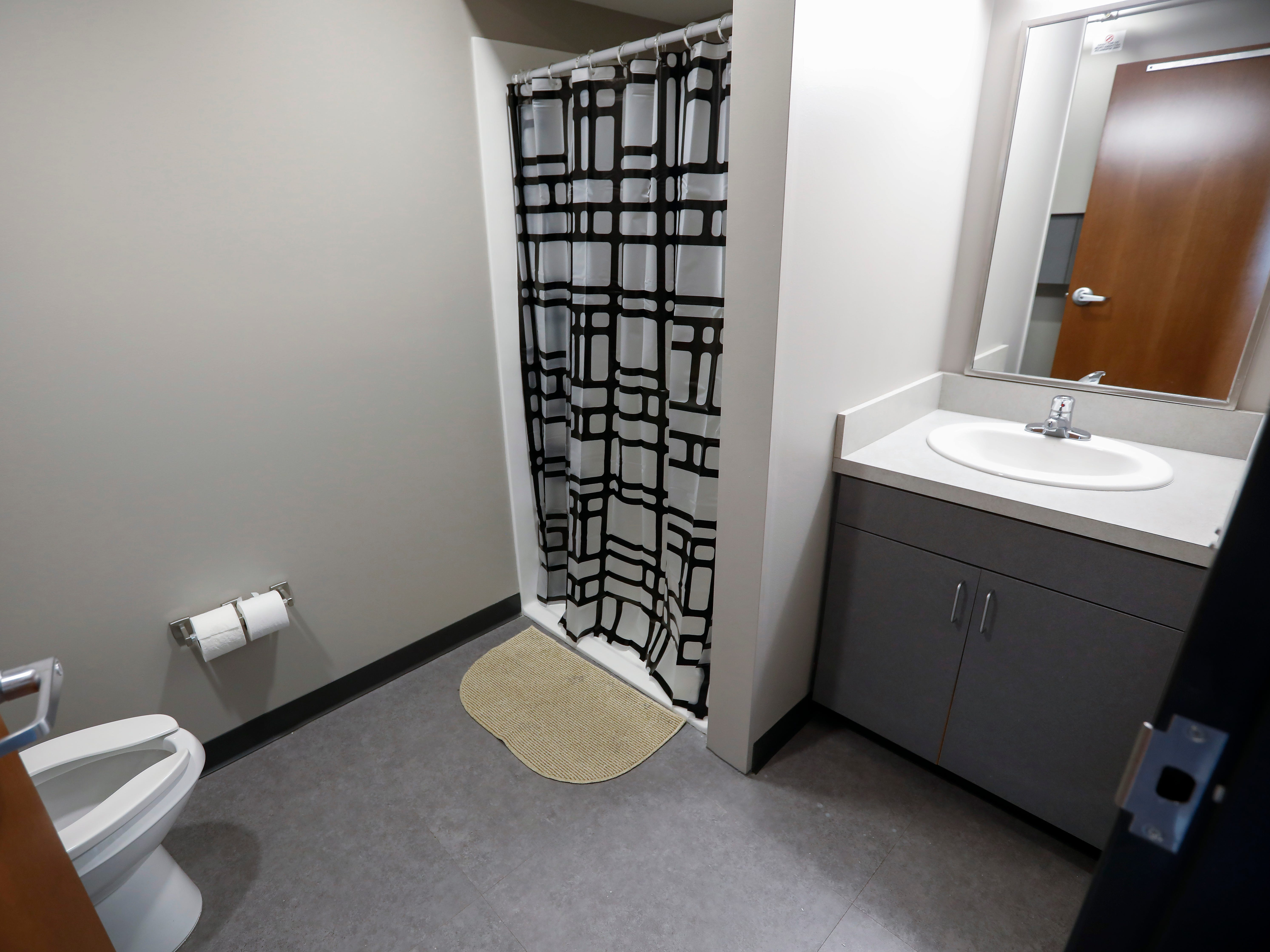 The bathroom inside one of the apartments at The Kitchen's new Emergency Shelter located at 1855 E. Chestnut Expressway.