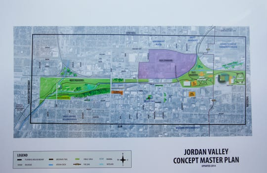 The master plan for the Jordan Valley area during a groundbreaking for a trail in the West Meadows on Wednesday, Nov. 7, 2018.