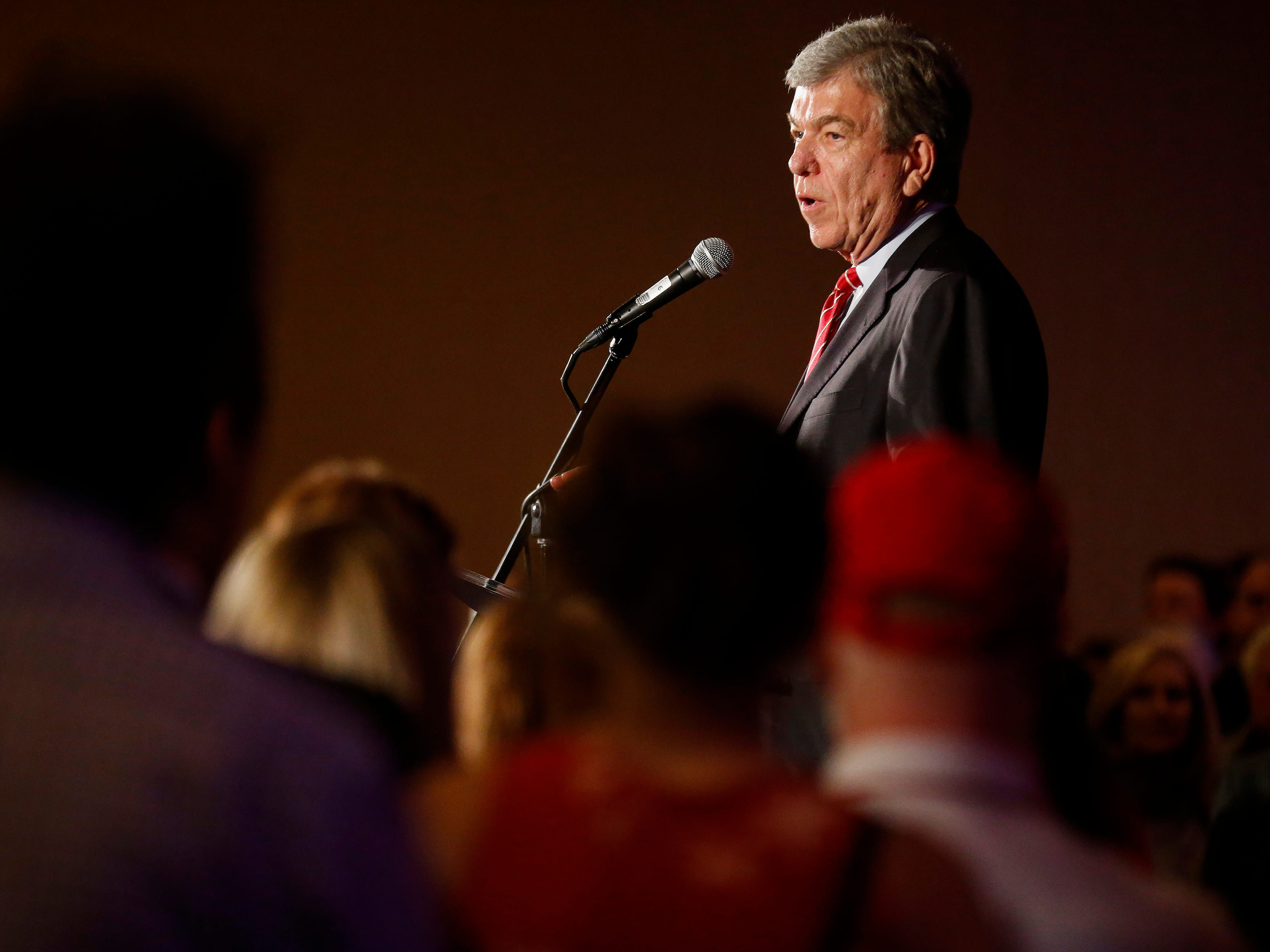 Senator Roy Blunt speaks during the Greene County Republican's watch party at the University Plaza hotel on Tuesday, Nov. 6, 2018.