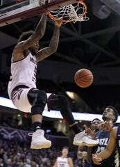 Missouri State's Obediah Church finishes the fast break against Oral Roberts University at JQH Arena on Nov. 6. The Bears are 3-0 under new head coach Dana Ford, but they'll be facing tougher teams tonight and Tuesday at the National Collegiate Basketball Hall of Fame Classic in Kansas City.