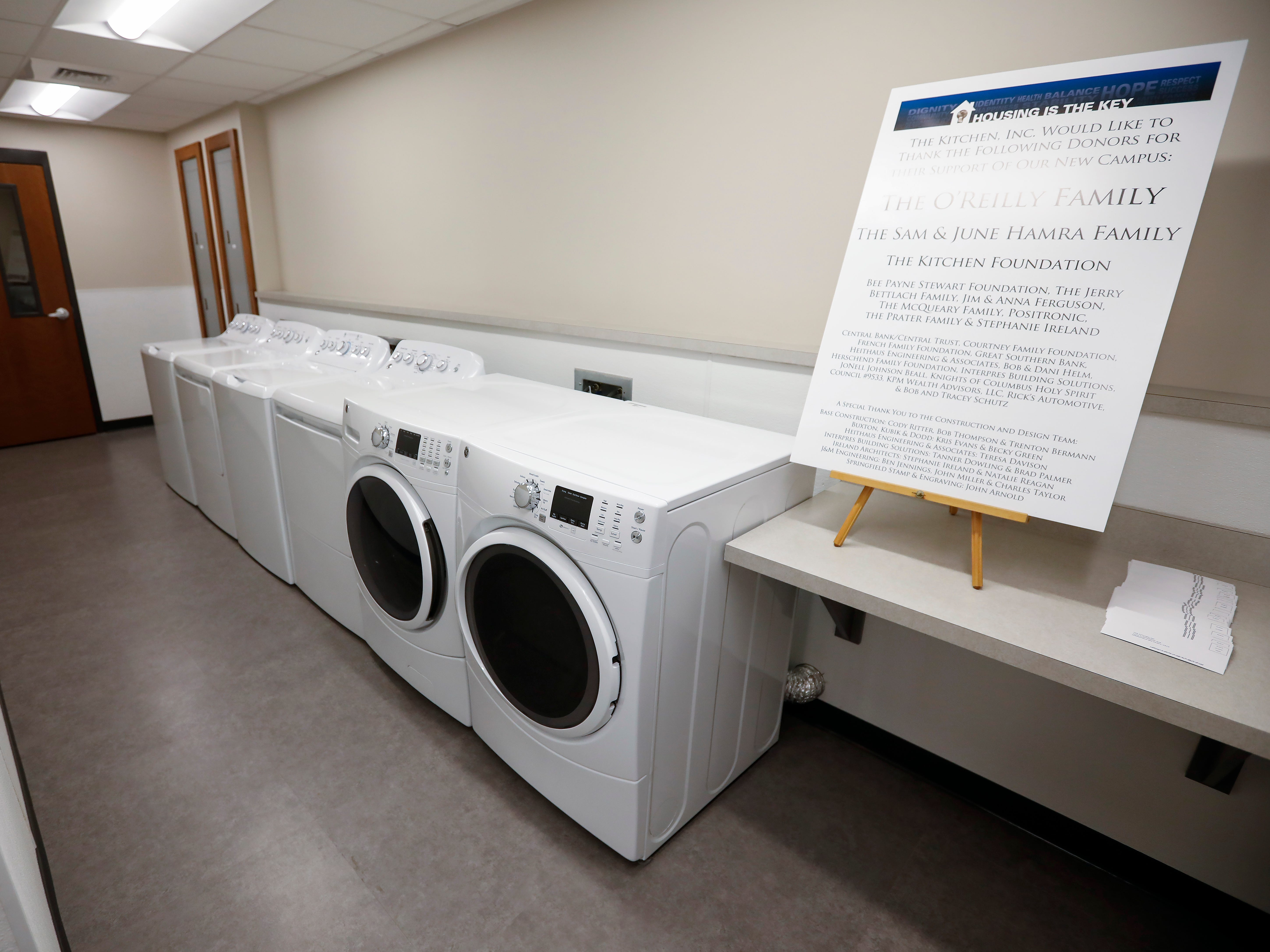 The laundry room inside of The Kitchen's new Emergency Shelter located at 1855 E. Chestnut Expressway.