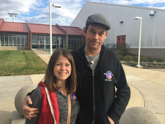 Rheanna Cantwell, 33, and Steven Snyder, 37, voted at Cooper Tennis Complex polling station on Nov. 6, 2018.