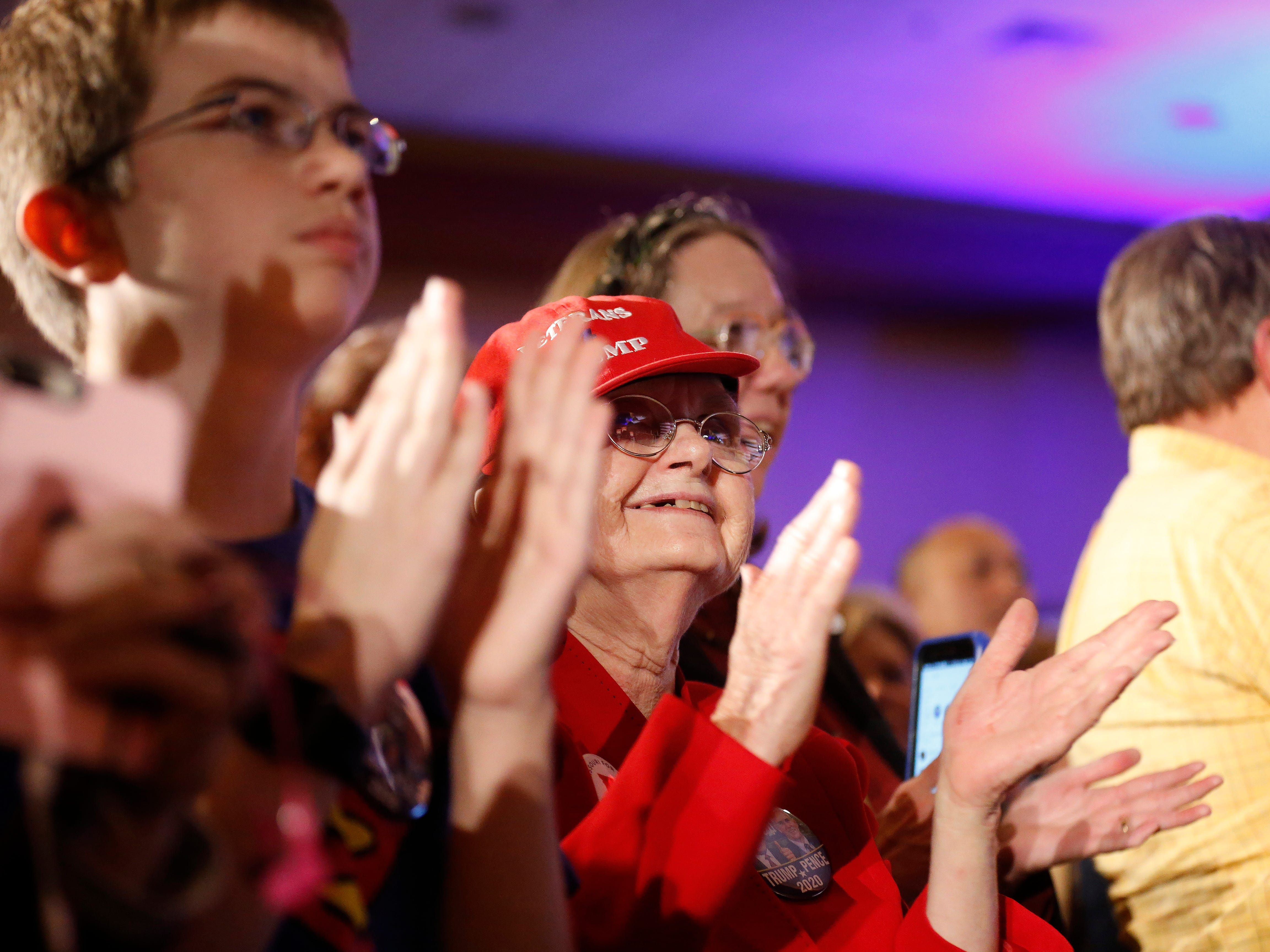 Shirley Gilman cheers during the Greene County Republican's watch party at the University Plaza hotel on Tuesday, Nov. 6, 2018.