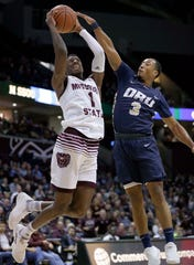 Missouri State's Keandre Cook drives to the basket against Oral Roberts University's Kaelen Malone at JQH Arena in Springfield on November 6, 2018.