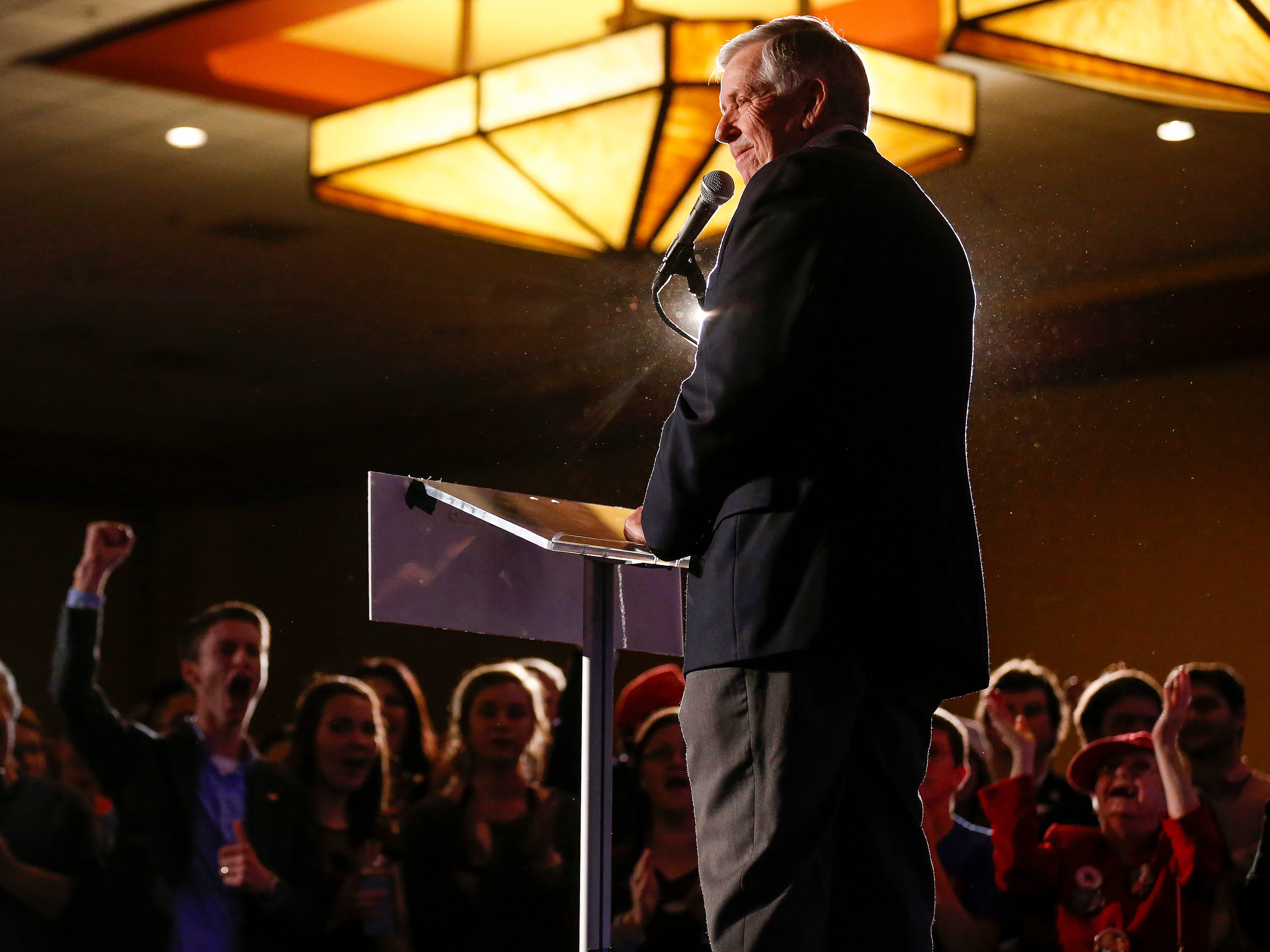 Gov. Mike Parson speaks during the Greene County Republican's watch party at the University Plaza hotel on Tuesday, Nov. 6, 2018.