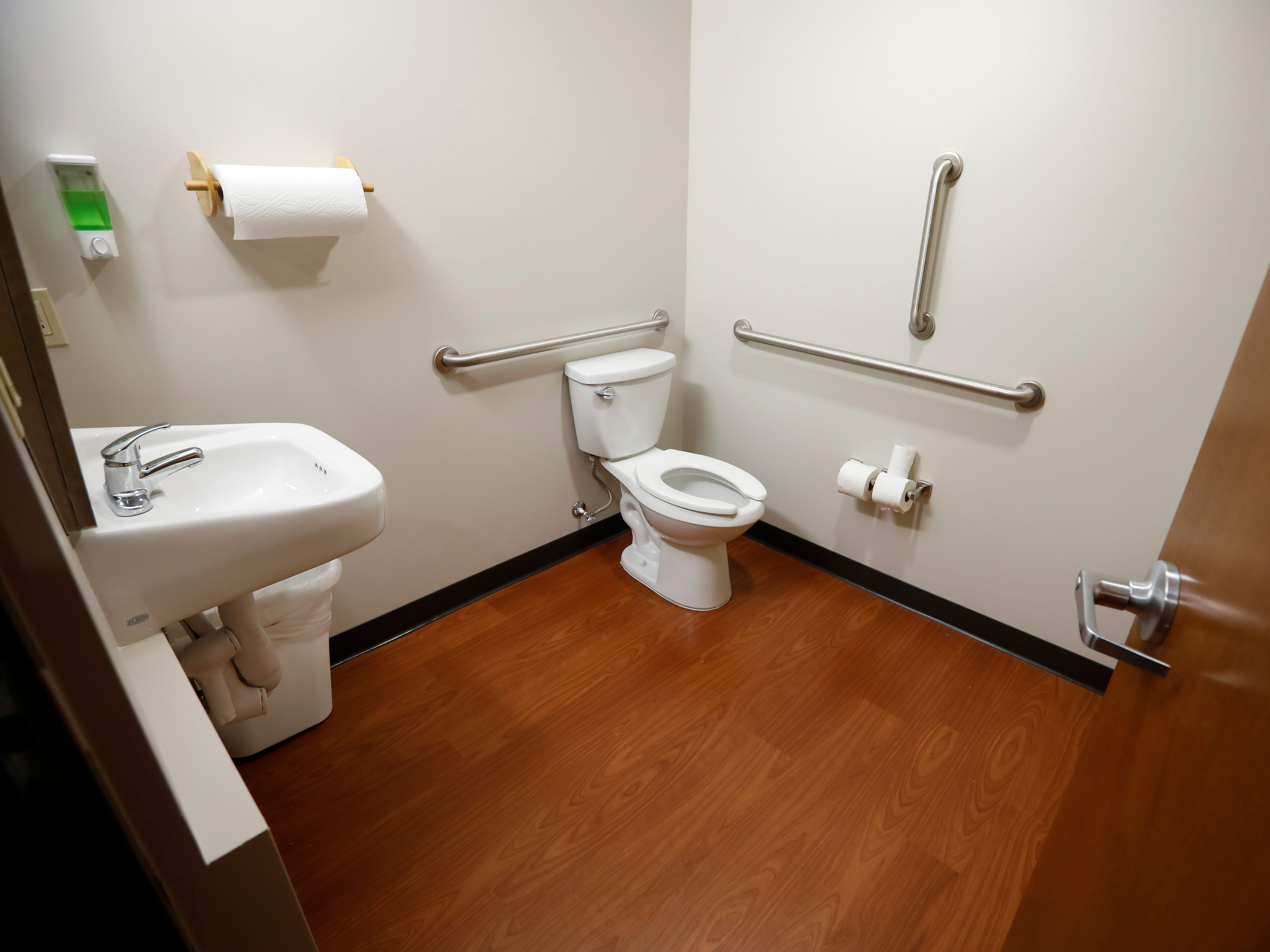 One of the shared restrooms inside of The Kitchen's new Emergency Shelter located at 1855 E. Chestnut Expressway.
