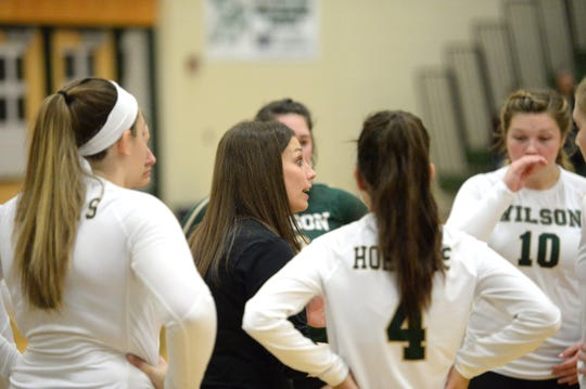 Wilson Memorial head coach Lauren Grove talks to her team during a timeout Tuesday in the Region 2B volleyball semifinals.