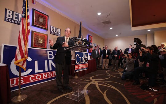 Former representative Bob Goodlatte addresses the crowd as the 6th District race called for Ben Cline at the Republican watch party at the Holiday Inn in Roanoke on Tuesday, Nov. 6, 2018.