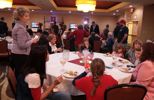 A crowd fills the room at the Holiday Inn in Roanoke Tuesday night to watch the polls come in for U.S. Congress 6th District candidate Ben Cline on Nov. 6, 2018.