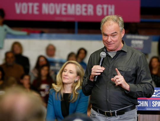 United States Sen. Tim Kaine, D-Va., right, gestures as he and 7th District Congressional candidate Abigail Spanberger, left, speak during a rally in Richmond, Va., Monday, Nov. 5, 2018.