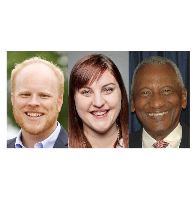 Candidates elected to St. Cloud school board on Tuesday, Nov. 6 are, from left, Zachary Dorholt, Natalie Ringsmuth and Les Green.