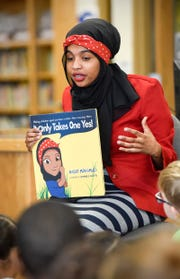 "Habso Mohamud answers students questions about her book ""It Only Takes One Yes"" Wednesday, Nov. 7, at Madison Elementary School."