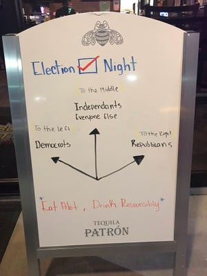 A sign at Bout Time, a restaurant in St. George, welcomes election watchers on Nov. 6, 2018.