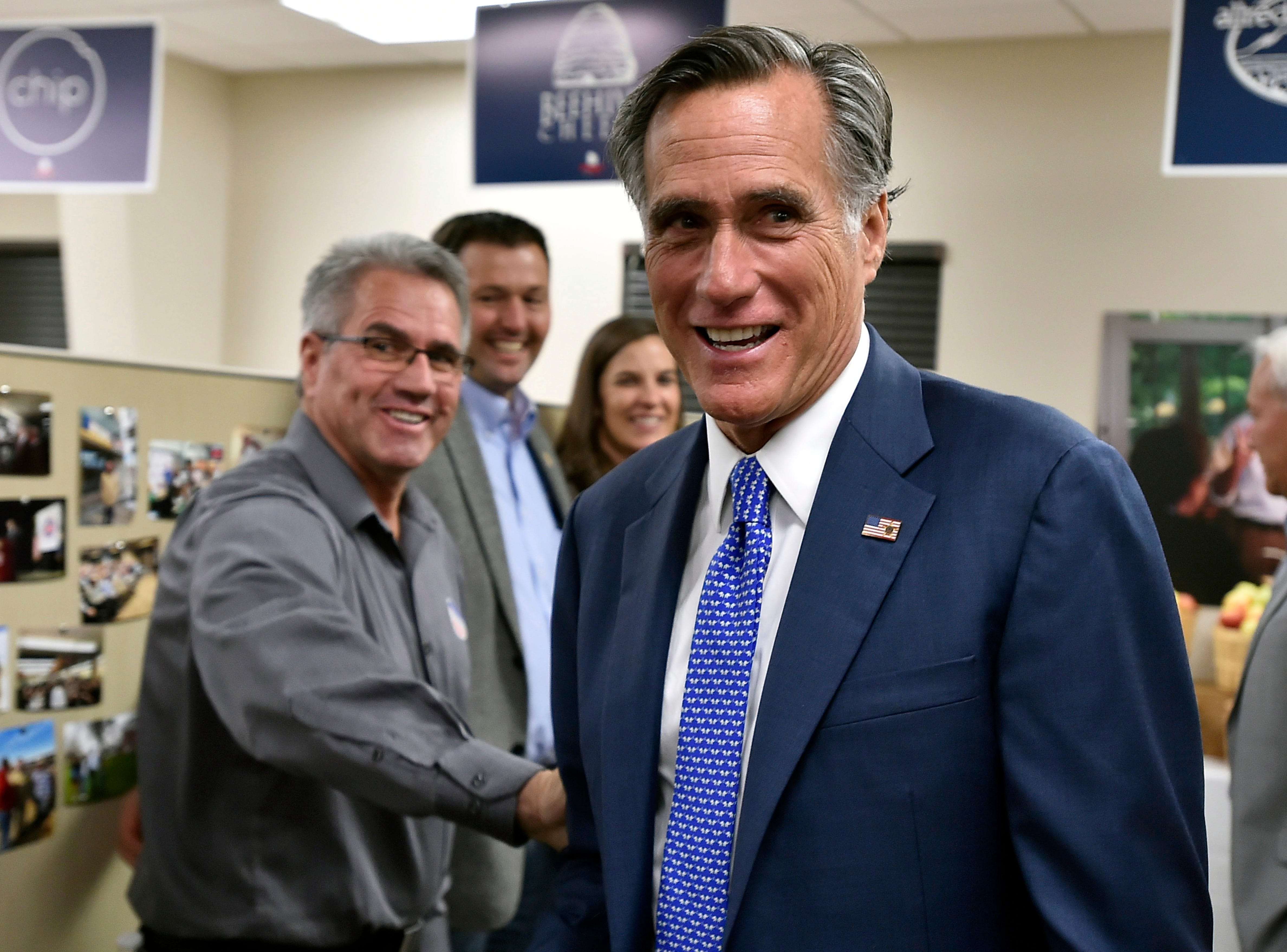 Republican Utah Senate candidate Mitt Romney greets supporters who gathered to await election results in Orem, Utah, Tuesday Nov 6, 2018.