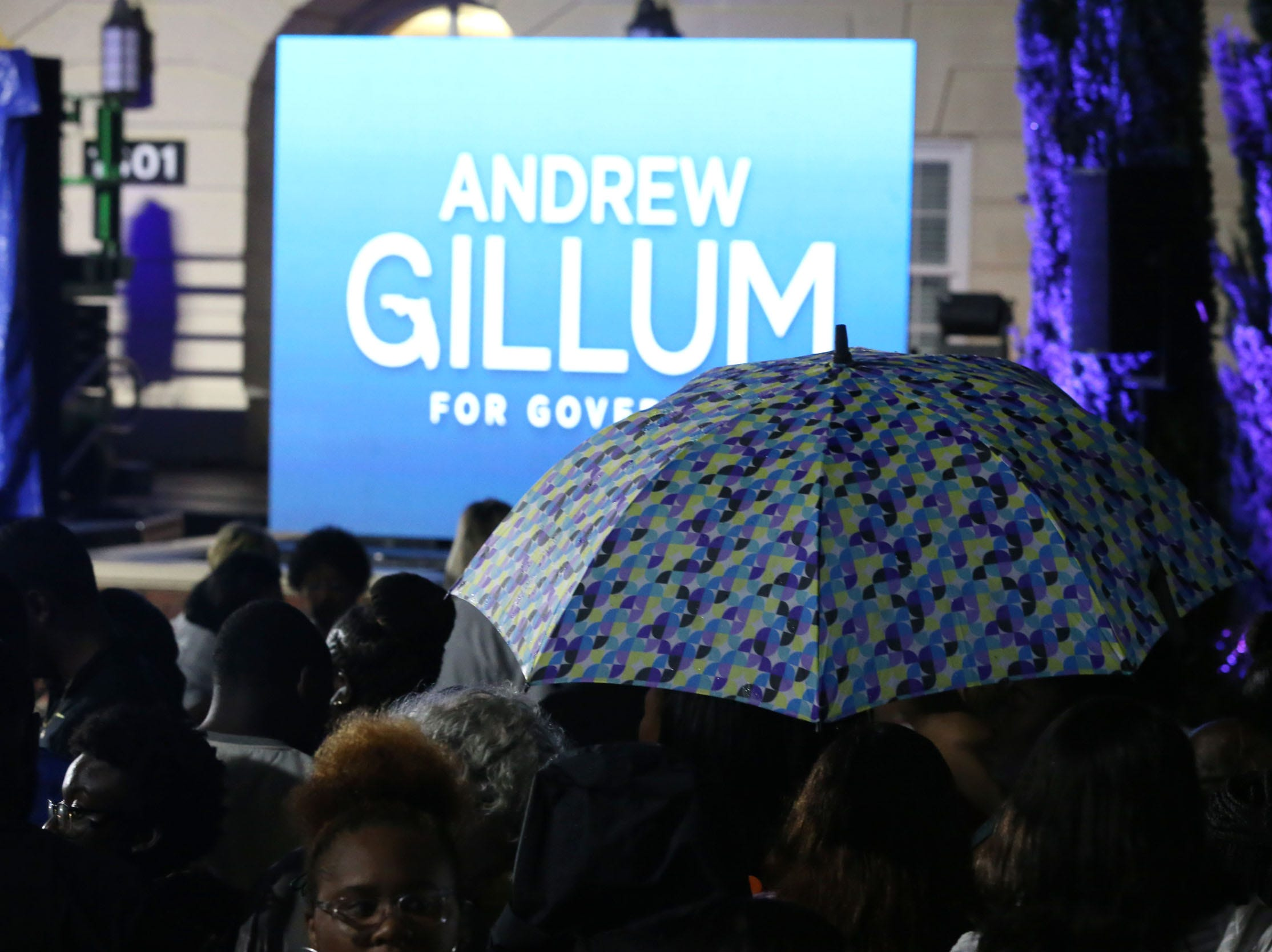 A rainy start at Andrew Gillum's watch party outside Lee Hall on the Florida A&M campus, on Election night, did not stop the crowd from showing up to show support for Gillum, Tuesday, Nov. 6, 2018.
